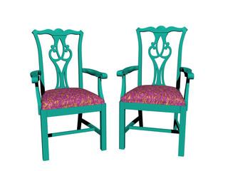 Grüner Holzstühle mit Polster