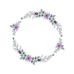 Watercolor wreath with wild flowers & burdock