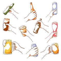 Hands holding beer