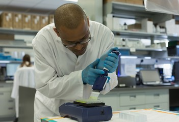 Scientist analyzing a sample