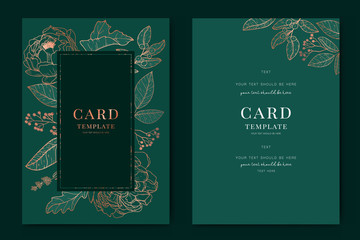 Wedding Invitation, floral invite thank you, rsvp modern card Design in Copper peony with tropical palm leaf greenery eucalyptus branches in emerald background