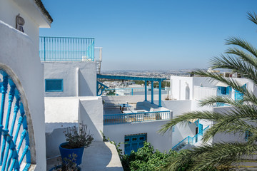 Tunisia. Sidi Bou Said. Panorama of the white city. View from above on houses and streets