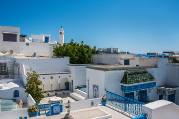 Tunisia. Sidi Bou Said. Panorama of the white city. View from above on houses and streets.