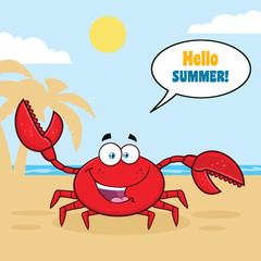 Happy Crab Cartoon Mascot Character Waving For Greeting. Vector Illustration With Palm And Beach Background