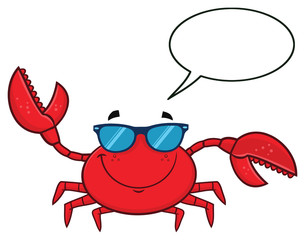 Smiling Crab Cartoon Mascot Character With Sunglasses Waving. Vector Illustration Isolated On White Background With Speech Bubble