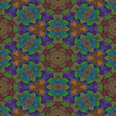 Seamless texture kaleidoscope with dark color, brown and purple in kaleidoscope