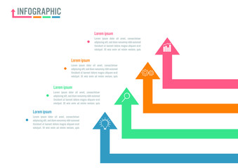 Business infographic arrows template with business icon. Vector illustration