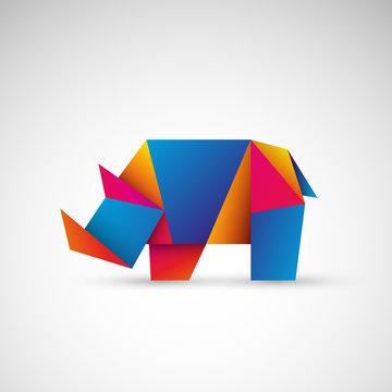 nosorożec origami wektor