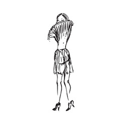 Abstract free fashion model back hand drawn ink  doodle, sketch, outline black and white vector fashion illustration