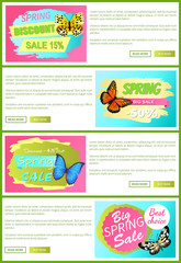 Half Price Spring Sale Off Stickers on Web Posters