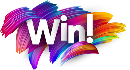 Win paper poster with colorful brush strokes.