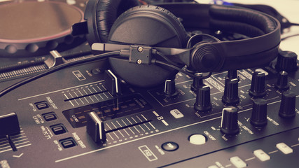 Headphone on dj mix console and music mixer