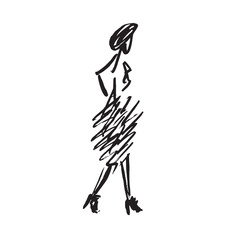 Abstract free fashion model walking in skirt, ink  doodle, sketch, outline black and white vector fashion illustration