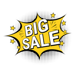 Big sale. Vector special offer illustration.  Pop art comic sale discount banner