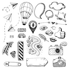 travel set of objects and icons for journey, illustrations, photos or cards.