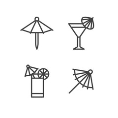 Cocktail umbrella flat line icons. Cold summer drinks illustrations, tequila sunrise, cosmopolitan alcohol beverage. Thin signs for beach bar. Pixel perfect 64x64.