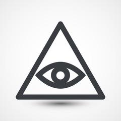 All seeing eye symbol, simple triangle, illustration. Illuminate - symbolic icon