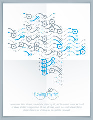 Abstract wavy lines pattern, art graphic illustration can be used as presentation flyer or brochure head page.