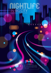 Night city with blurred lights bokeh texture vector illustration. Blur colorful dark background with cityscape, buildings silhouettes skyline. Brochure, flyer, cover, poster or guidebook template.