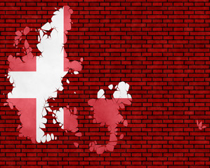 Illustration of a Danish flag, imitation of a painting on the cracked wall