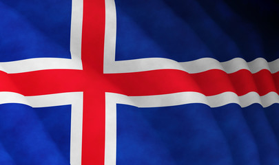 Illustration of a flying Icelandic flag