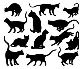 Cat Silhouette Pet Animals Set