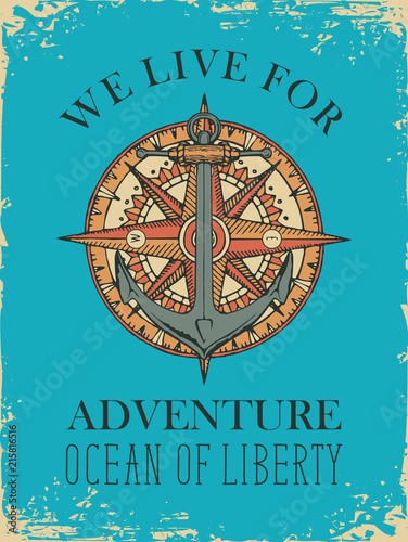 Retro banner with ship anchor, wind rose and old nautical