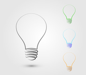A set of light bulbs with different colors to represent idea for business and organization vector illustration