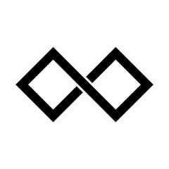 Black infinity symbol icon. Rectangular shape with sharp corners. Simple flat vector design element.