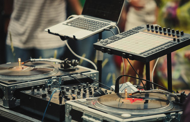 Professional party dj audio equipment on open air festival