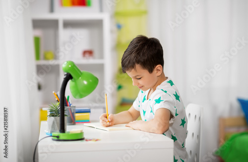 Admirable Education Childhood And School Concept Little Boy Sitting Beutiful Home Inspiration Ommitmahrainfo