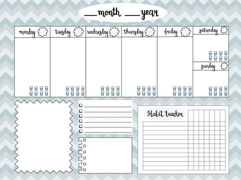 Empty weekly planner with water level tracker, space for notes, To do list and habit tracker, gray chevron background. Schedule and organizer template. Vector
