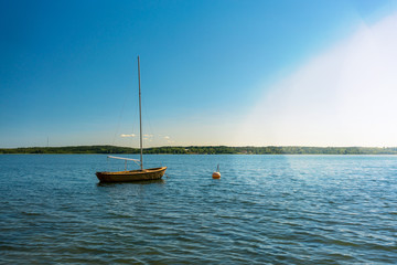 Sailboat in a Swedish bay of the baltic sea