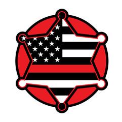 Firefighter Support Star and Flag Emblem