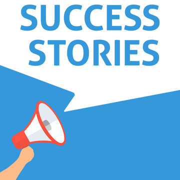 SUCCESS STORIES Announcement. Hand Holding Megaphone With Speech Bubble. Flat Illustration