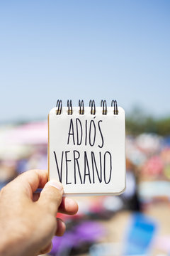 text adios verano, good bye summer in spanish