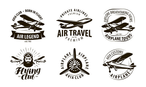 aircraft, airplane logo or label. flying club, airlines icon set. typographic design vector illustration