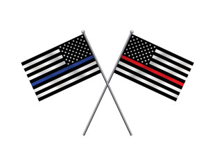 First Responder Support Flags Illustration