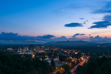 Twilight scene overlooking Asheville, a destination vacation mountain town in western North Carolina Wall mural