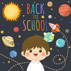 Back to School with smiling children, space and solar system concept background. Vector illustration.