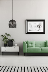Poster above green couch next to cupboard with plants in living room interior with lamp. Real photo