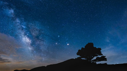 Stunning view ot the Milky Way Galaxy from the Blue Ridge Parkway in Asheville, North Carolina