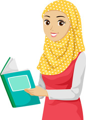 Teen Girl Muslim Book Illustration