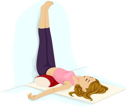 Teen Girl Yoga Legs Up The Wall Illustration