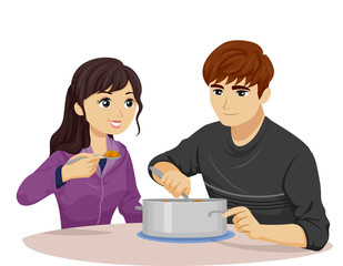 Teen Couple Eat Same Pot Illustration