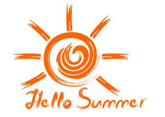 Carelessly drawn sun and inscription. Handwritten orange inscription. Hello summer. Summer concept design. Vector illustration