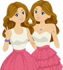 Teen Girl Twins Illustration
