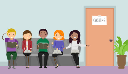 Stickman Teens Casting Call Illustration