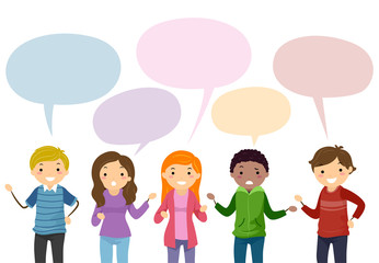 Stickman Teens Speech Bubble Illustration