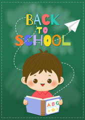 Happy smiling boy with book and flying paper plane on blackboard background.  Back to School concept,Vector illustration.